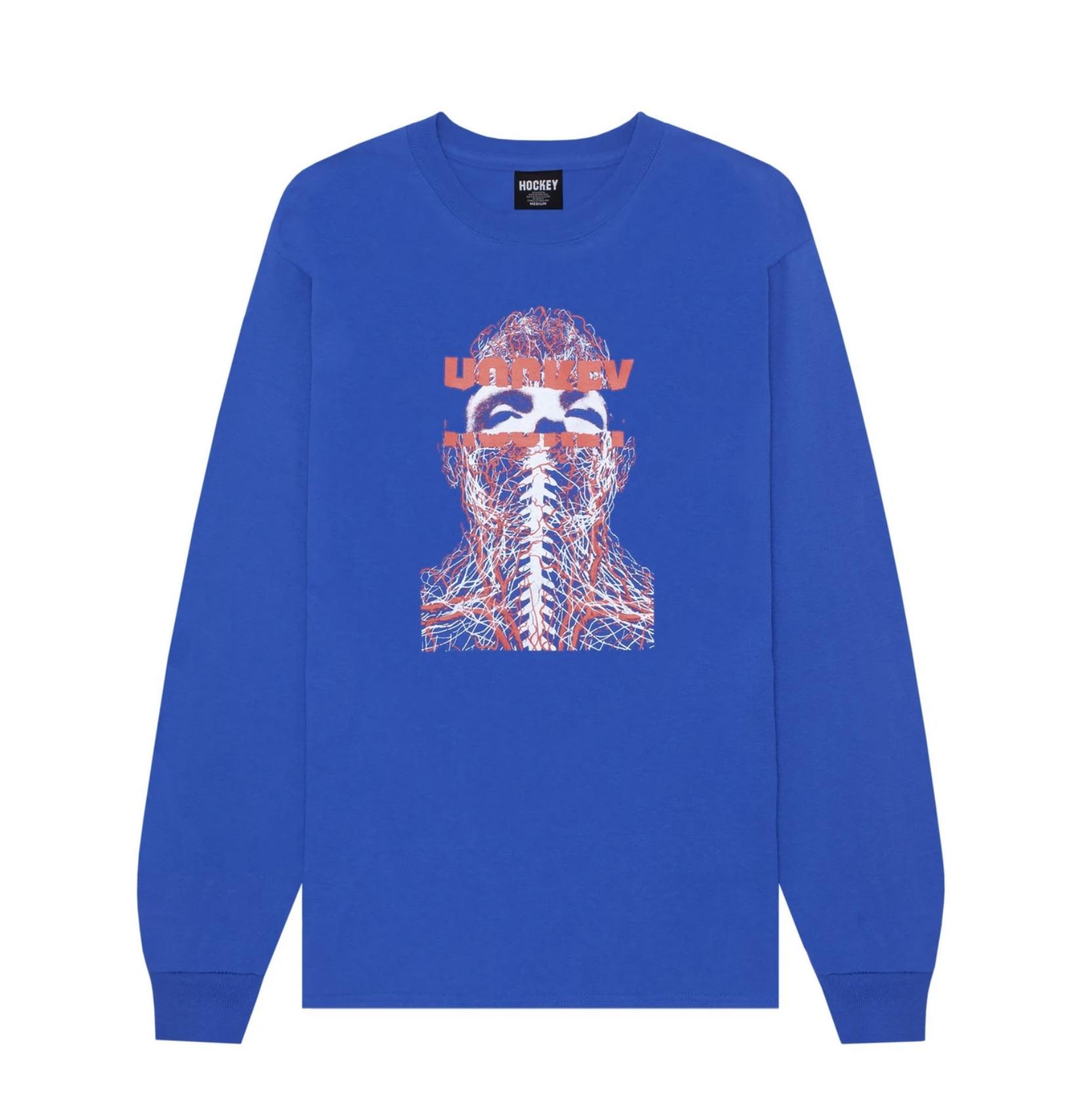 HOCKEY NERVES L/S TEE BLUE