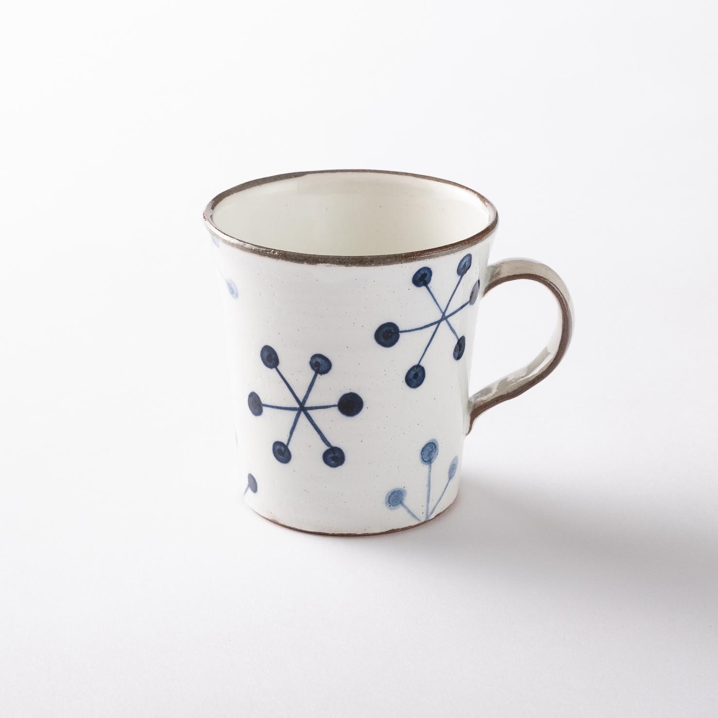 【瀬戸焼】マグカップ「いんでぃご- ホワイト 六角花 マグ」