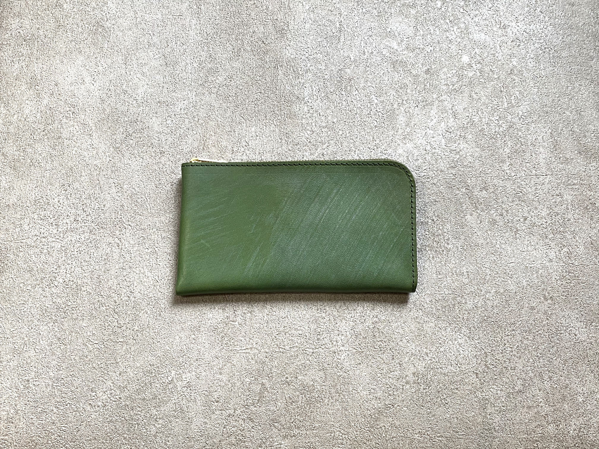 """SHOZO Wallet (vegetable tanned and waxed leather) : Green * Won Grand Prix of the small leather article category in """"Asia Pacific Leather Fair 2019"""""""