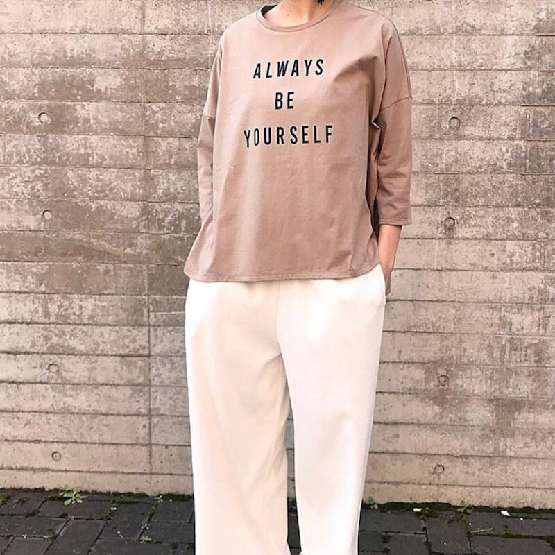 "【 siro de labonte 】- R043202 - ""ALWAYS BE YOURSELF"" 7分袖プリントTシャツ"
