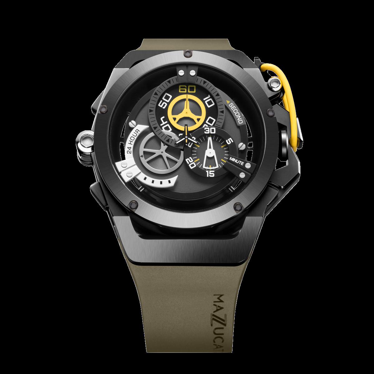 【MAZZUCATO マッツカート】RIM-04(カーキ×イエロー)/国内正規品 腕時計