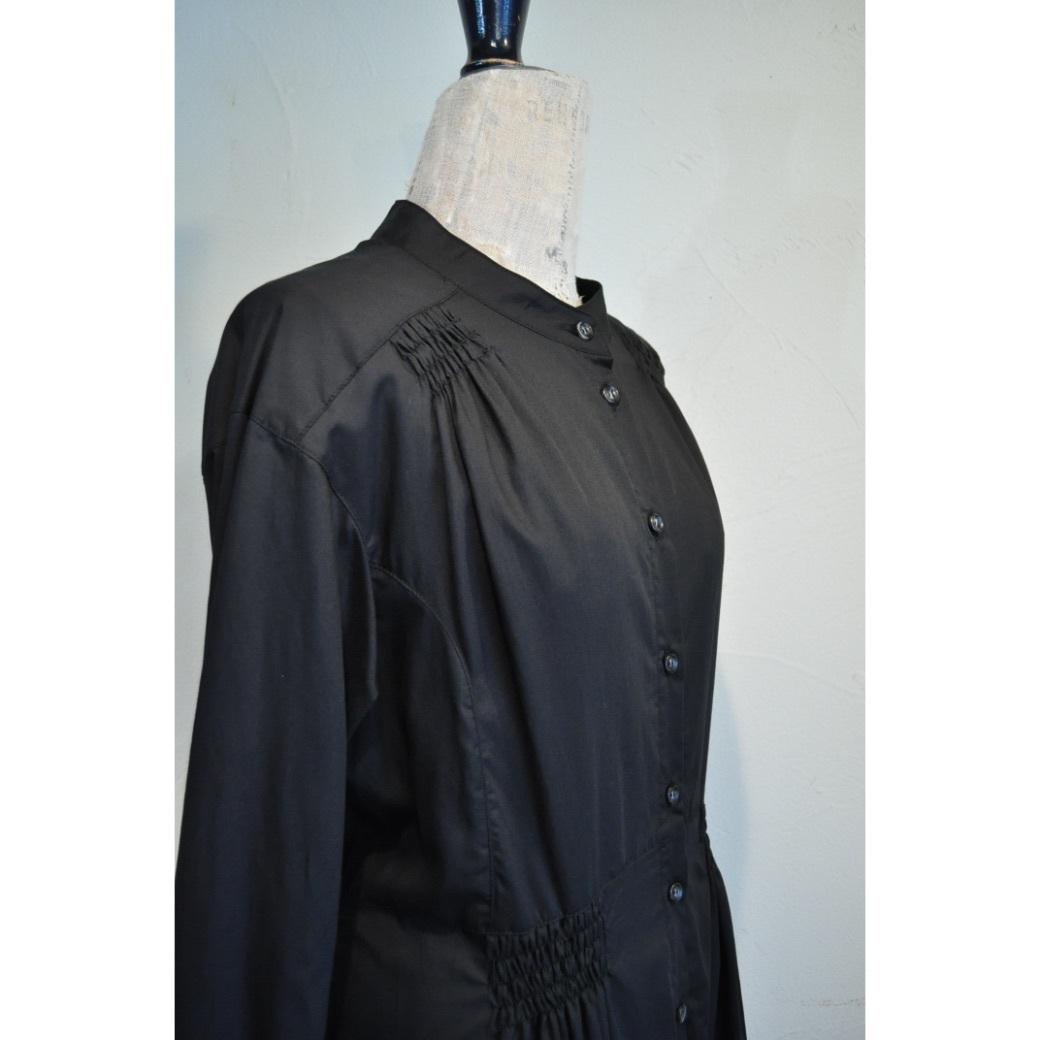 【RehersalL】gathering shirt dress(black) /【リハーズオール】ギャザリング シャツドレス(ブラック)
