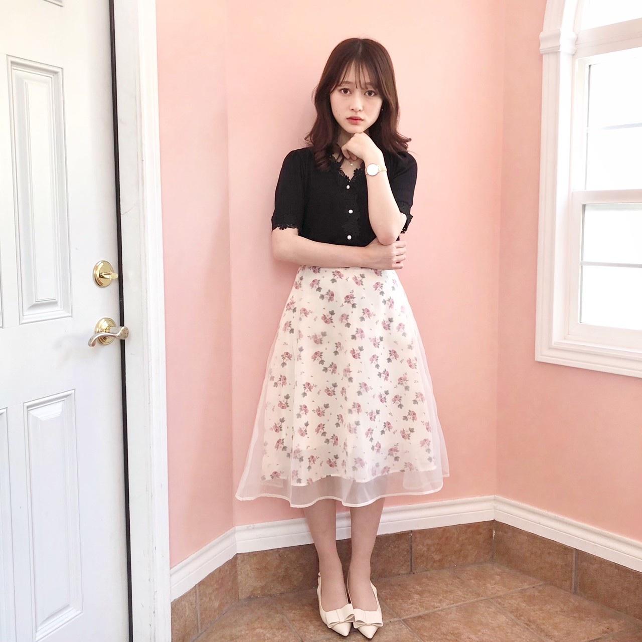 【Fluffy】オーガンフラワースカート
