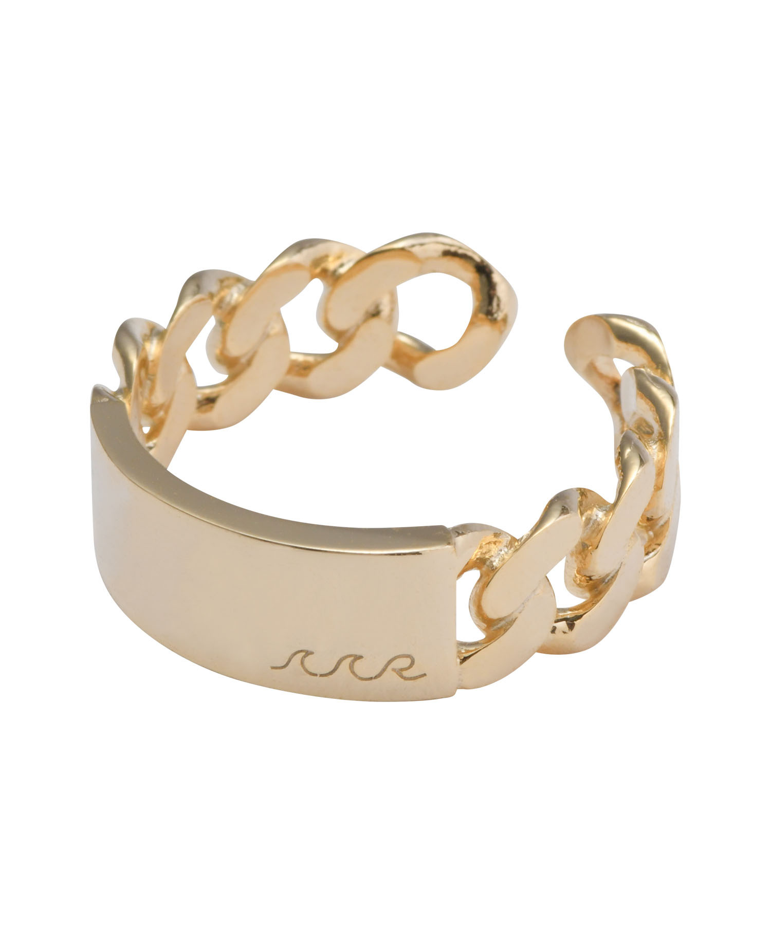 FLAT LINK CHAIN RING-GOLD[REA161]