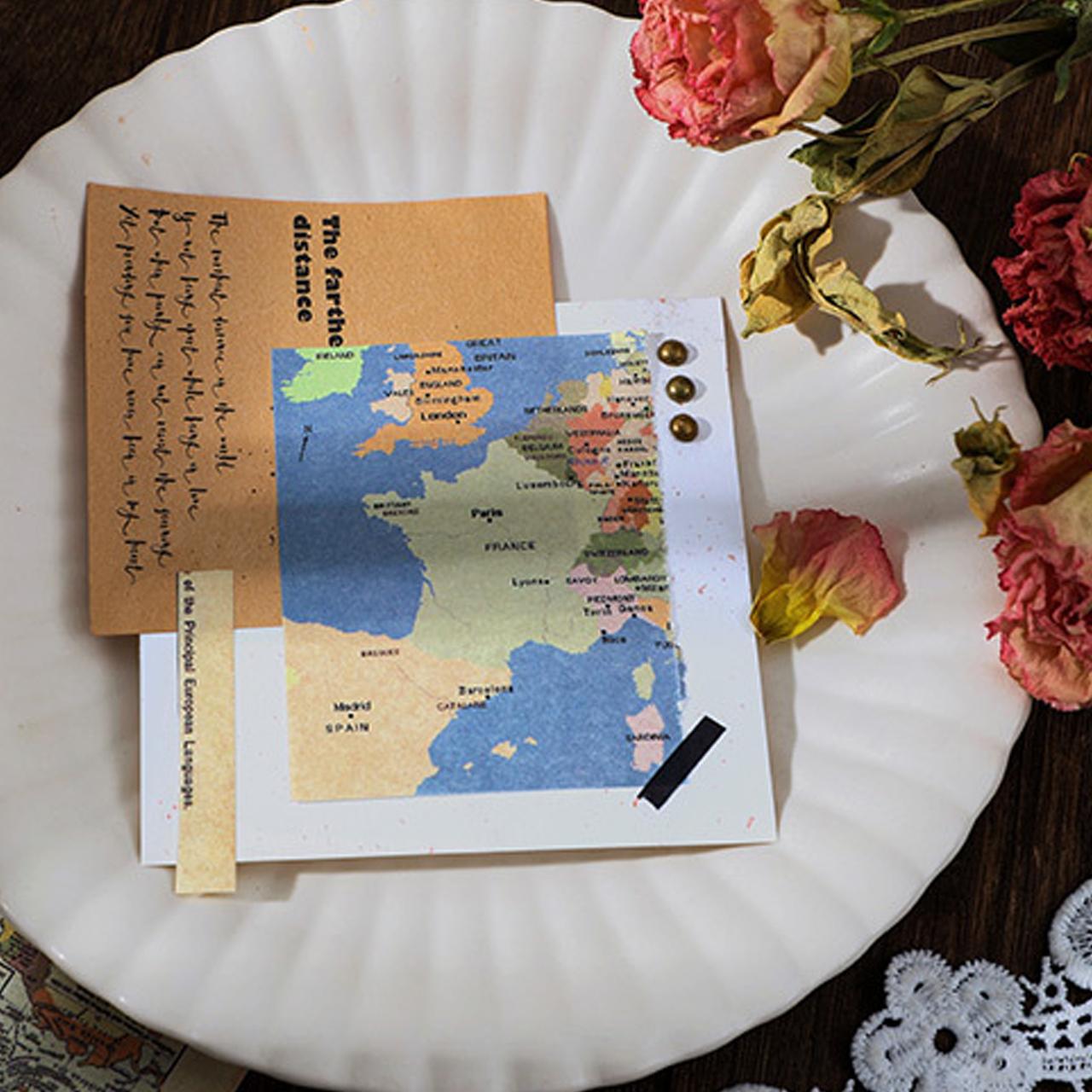 レトロ 素材紙 全6種 自然 地図 手紙 宇宙 海外 コラージュ素材 紙もの G12