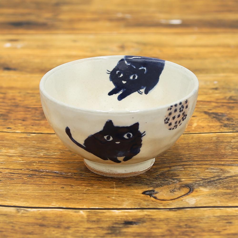 猫飯椀(猫にまり茶碗)小