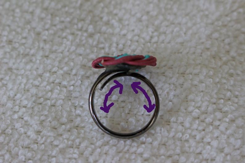 青色梅水引結びのリング