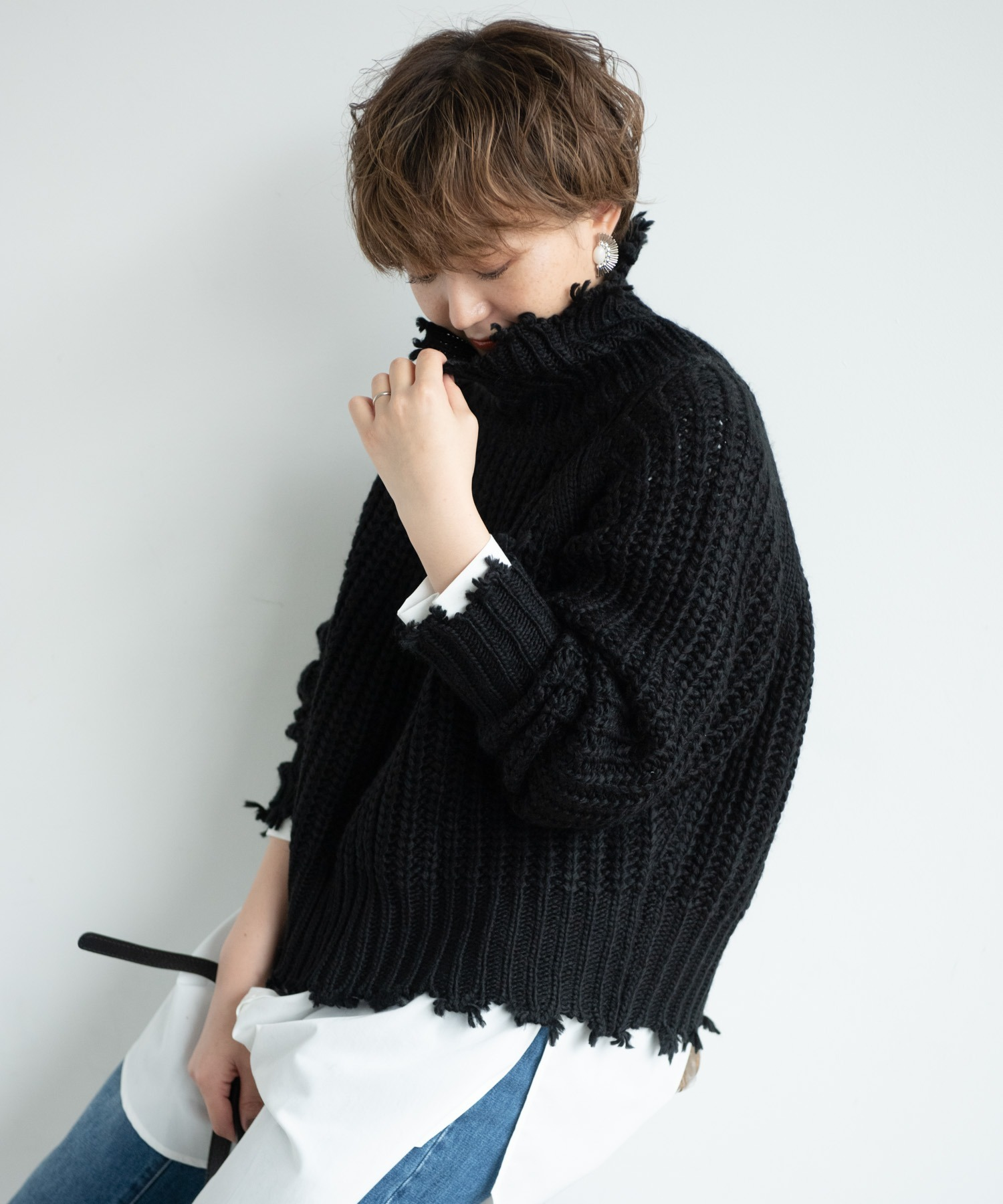 【yukichi.】crush offturtle youth knit/BLK