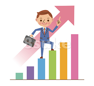 イラスト素材:グラフを登るビジネスマン(ベクター・JPG)