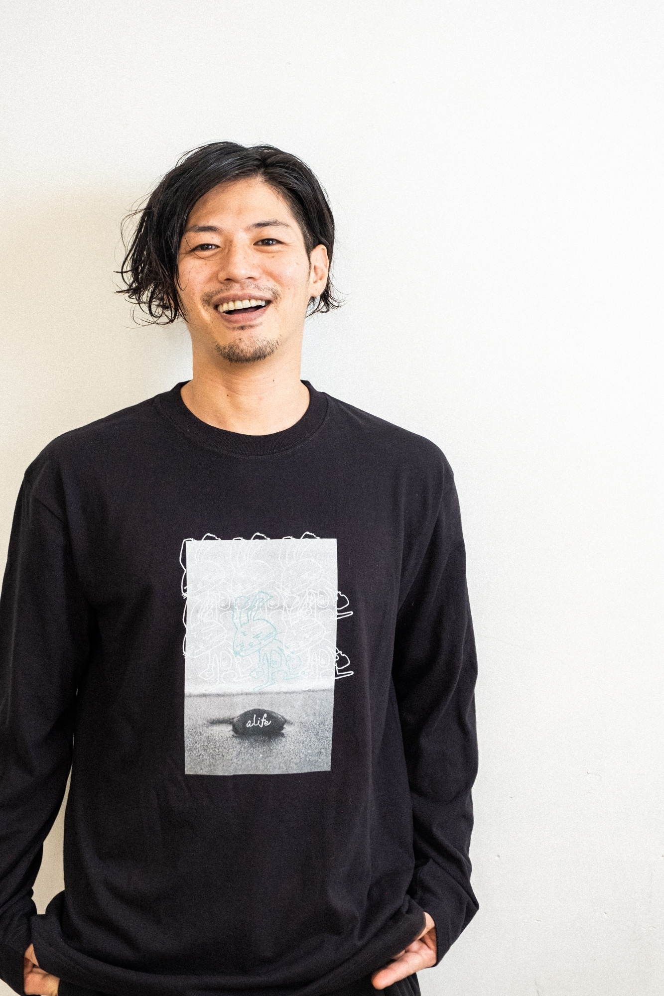 「aLife」STONE LONG TEE / BLACK