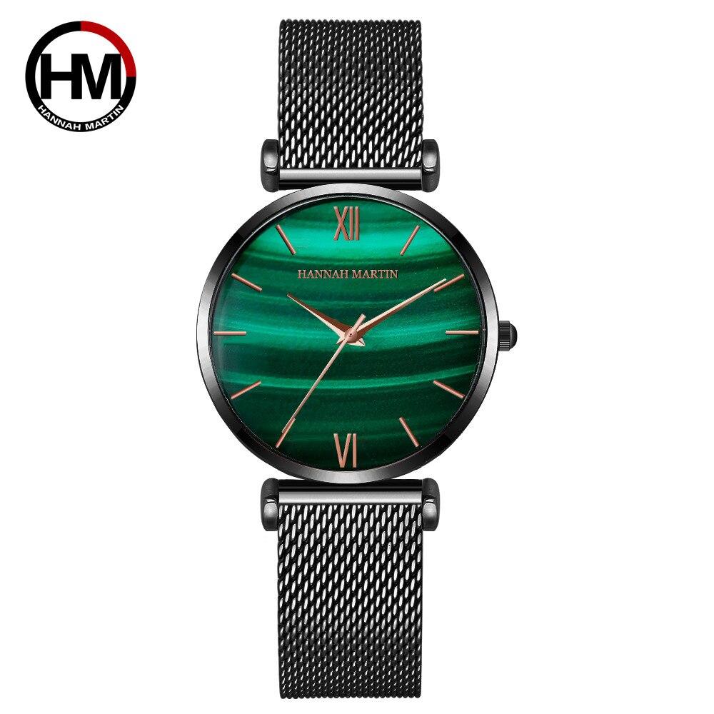 女性用時計グリーンダイヤルレディース日本のクォーツ腕時計防水超薄型ステンレススチールストラップ防水RelojMujer152WH