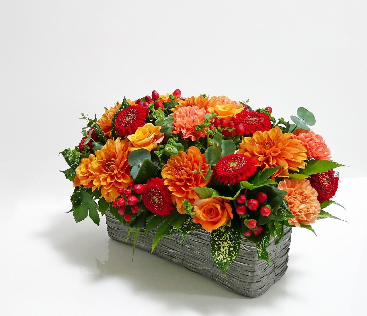 セミオーダーフレッシュフラワーアレンジメント*ワイド型*オレンジ