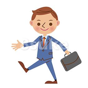 イラスト素材:歩くビジネスマン(ベクター・JPG)