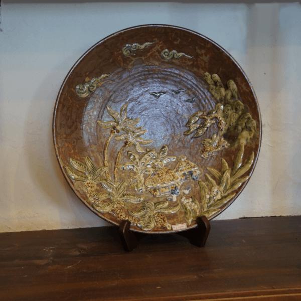 沖縄のなつかしい風景105寸皿(約45cm)【金城陶器秀陶房】