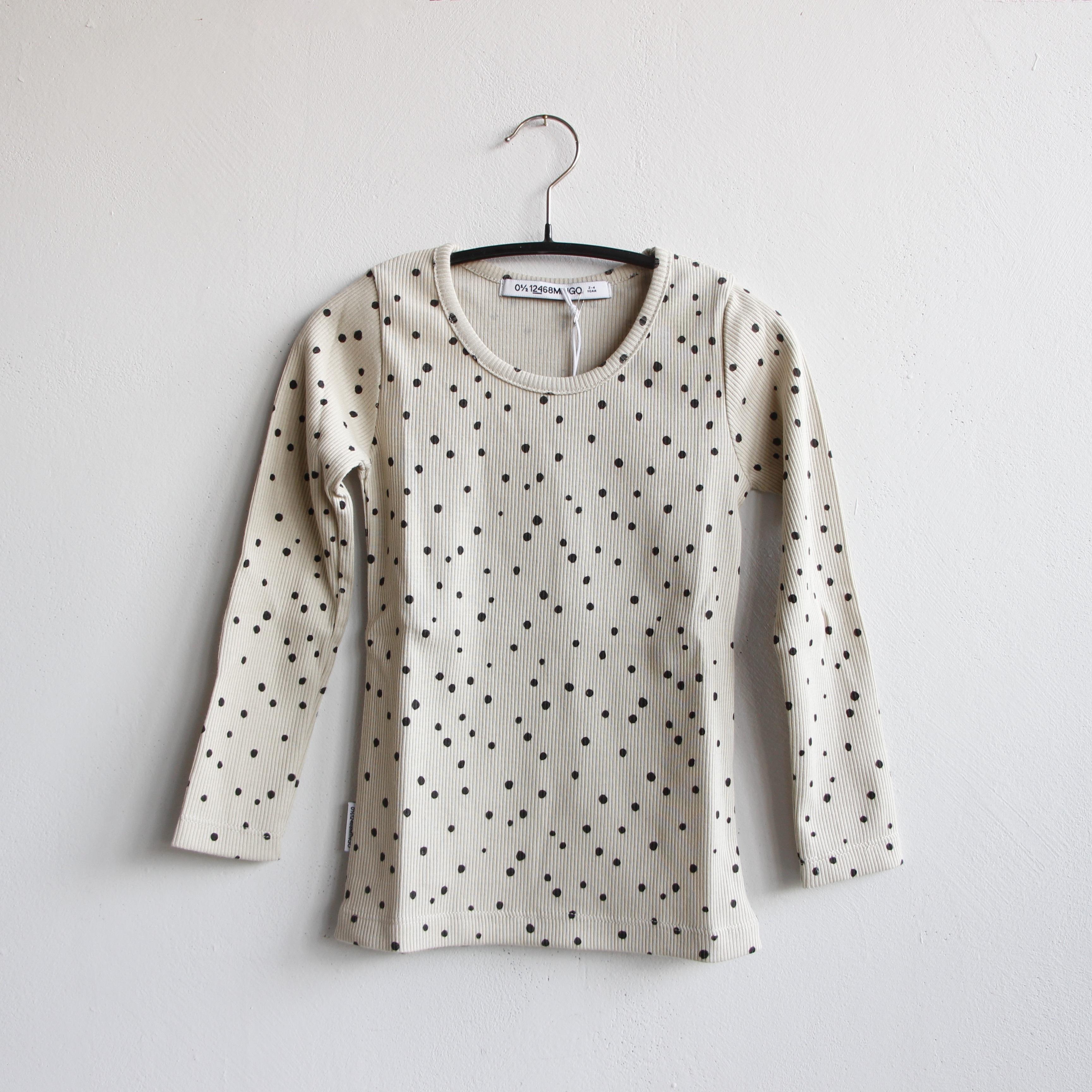 《MINGO. 》Rib Top / Dot Black × White