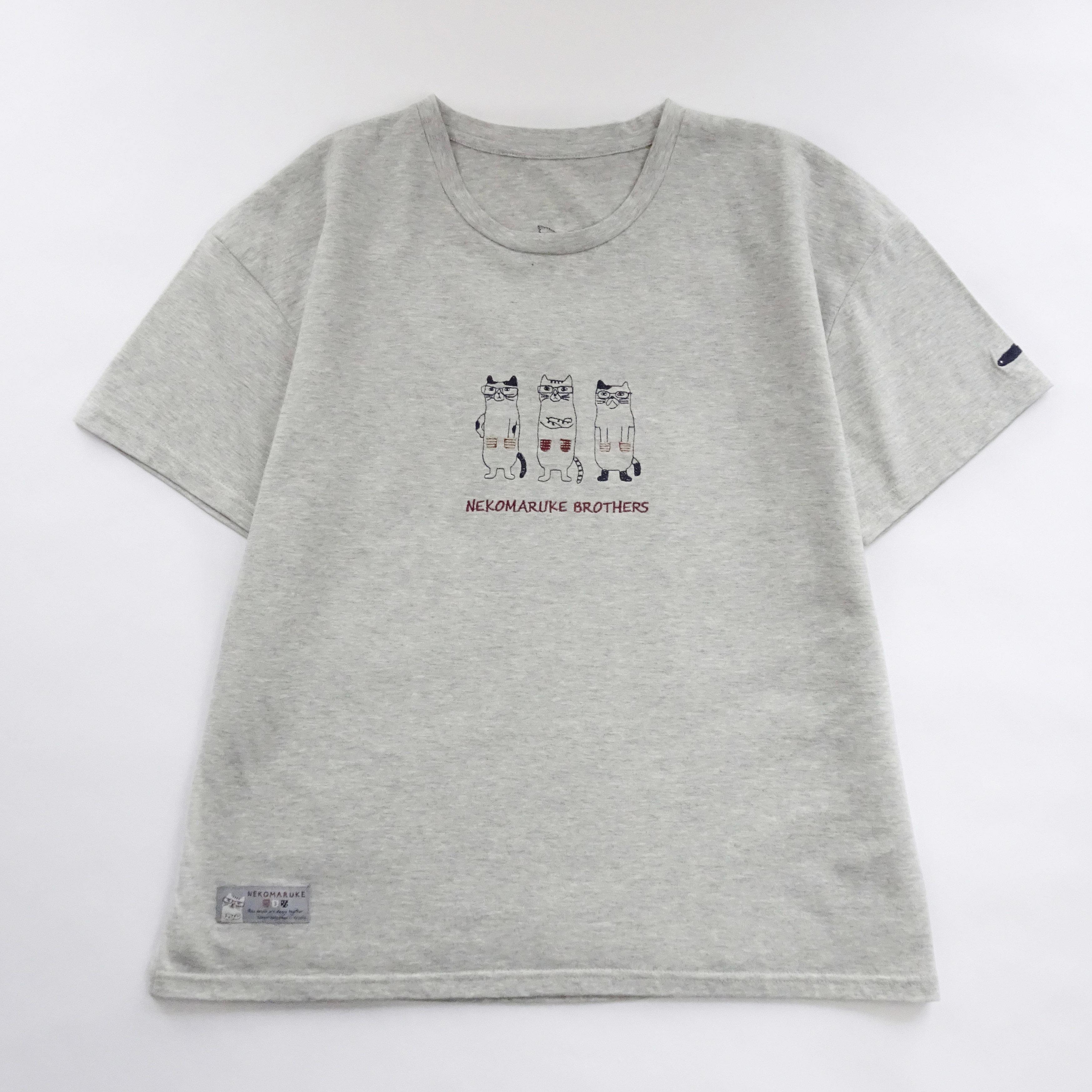 Tシャツ 「ネコまるけブラザーズ グレー」