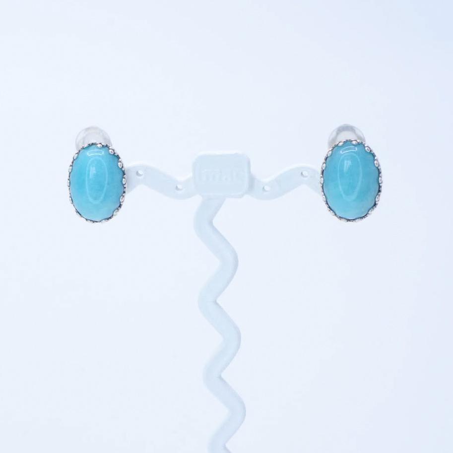イヤリング アマゾナイト 天然石 ブルー オーバル 148158