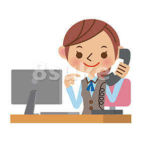 イラスト素材:電話対応をするOL・事務職の女性(ベクター・JPG)