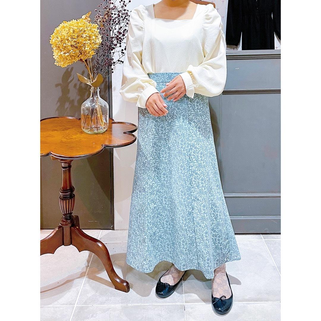 花柄フロッキープリントマーメイドスカート