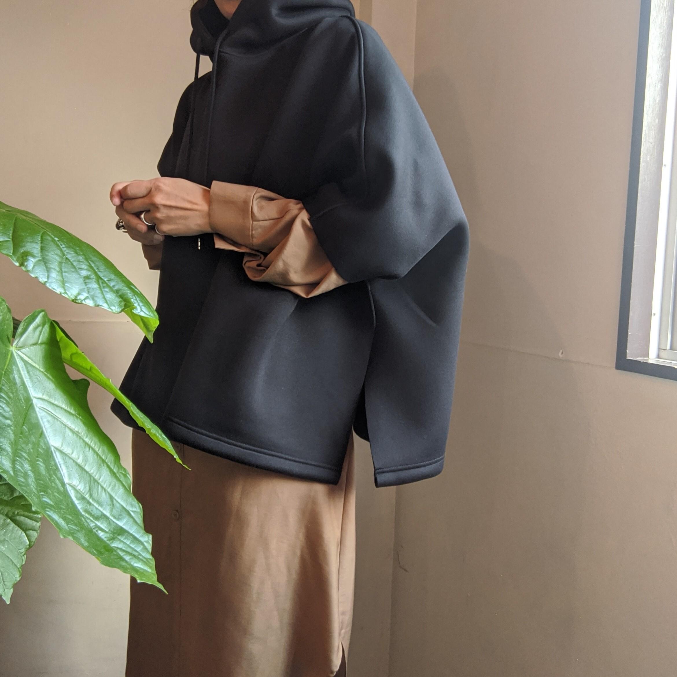 【PuRah】プラ / ダンボールニット ケープパーカー / BLACK ブラック / hoodie cape