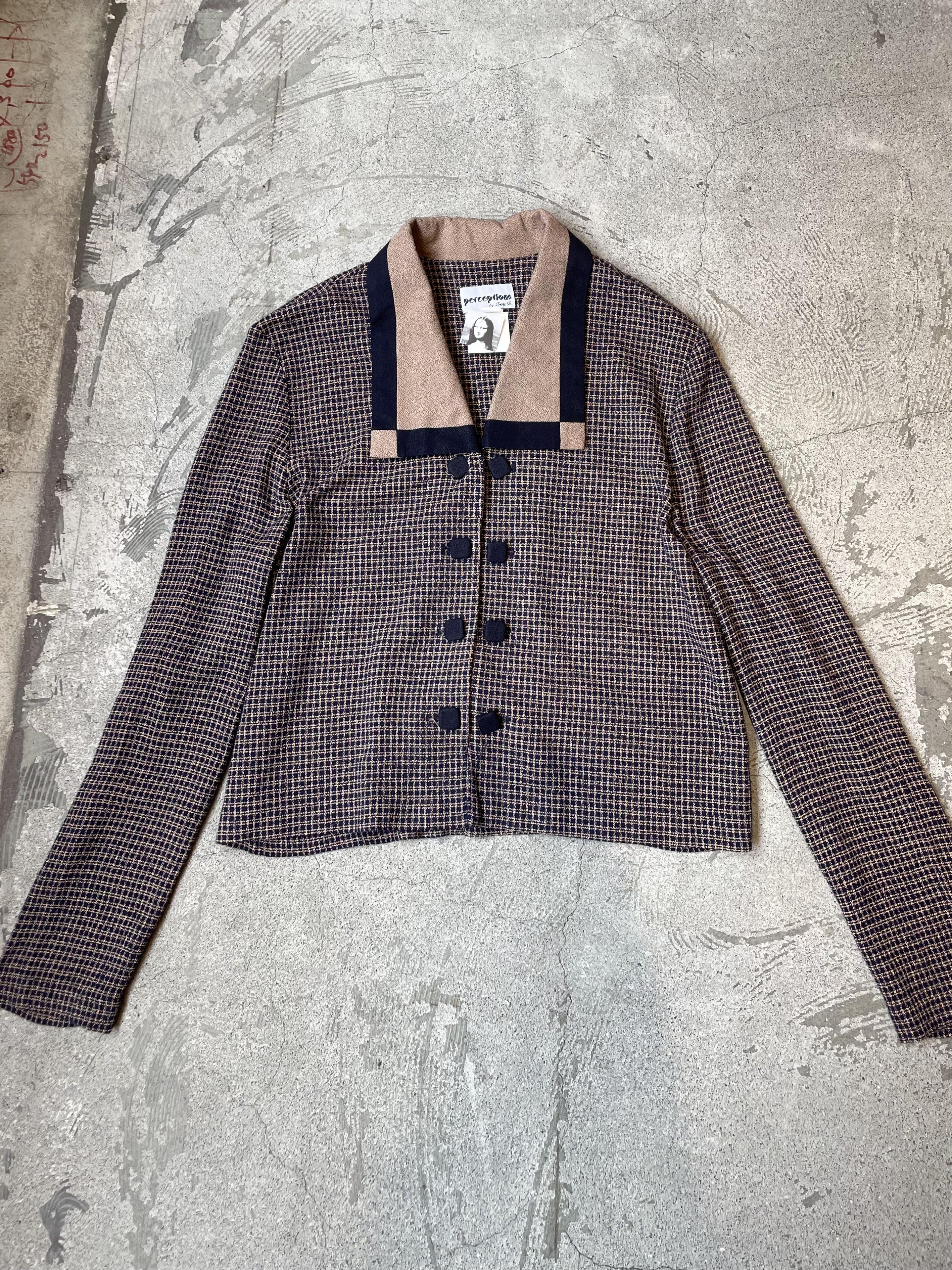 vintage check pattern jacket