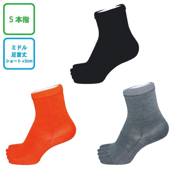 INNER-FACT インナーファクト 5本指ソックス ミドル丈(足首丈) ブラック/ダークオレンジ/ライトグレー