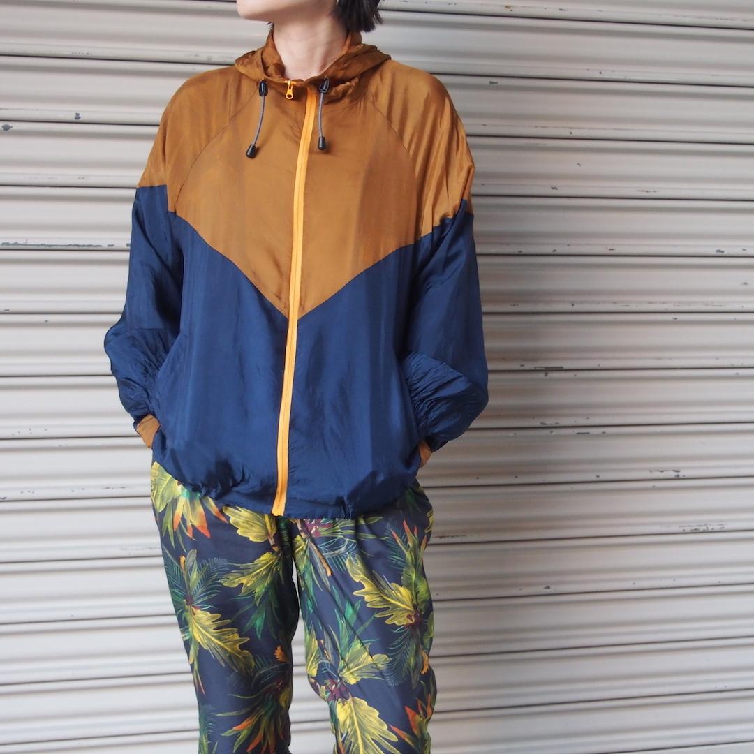 【hippiness】cupro crispy hoodie(gold/navy) /【ヒッピネス】キュプラ クリスピー フーディ(ゴールドネービー)