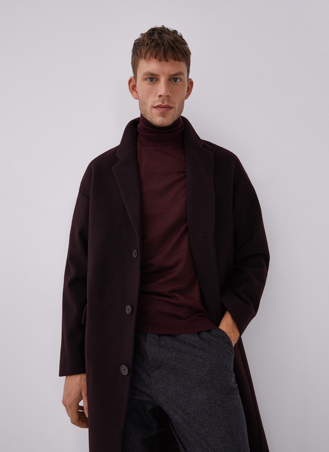 TAILORED COAT WITH DROP SHOULDER