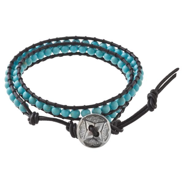 ダブルエスニックブレスレット(ターコイズ) ACB0095 Double ethnic bracelet (turquoise)