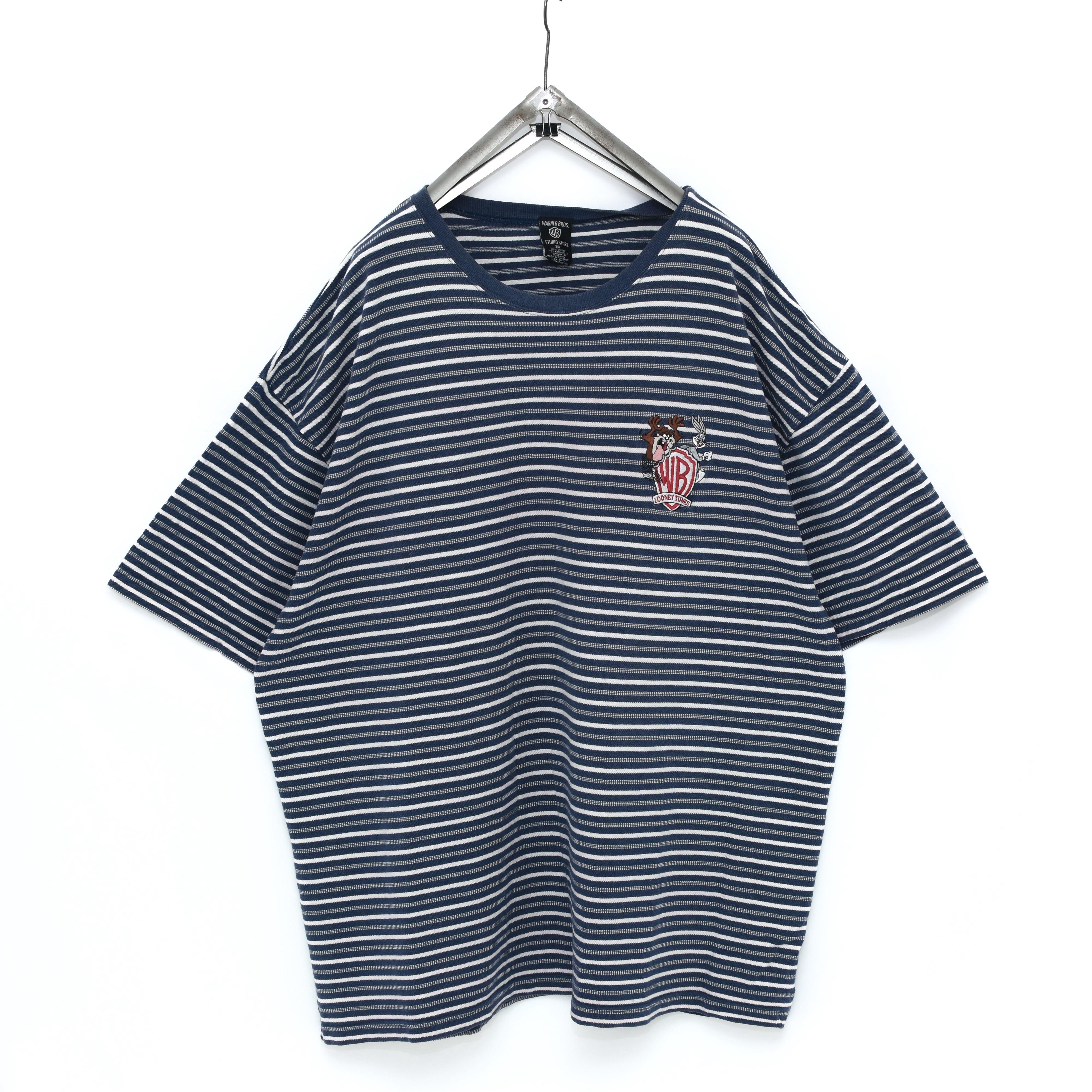90s Vintage【雰囲気◎】LOONY TUNES 刺繍 ボーダーTシャツ ビンテージ ルーニーチューン