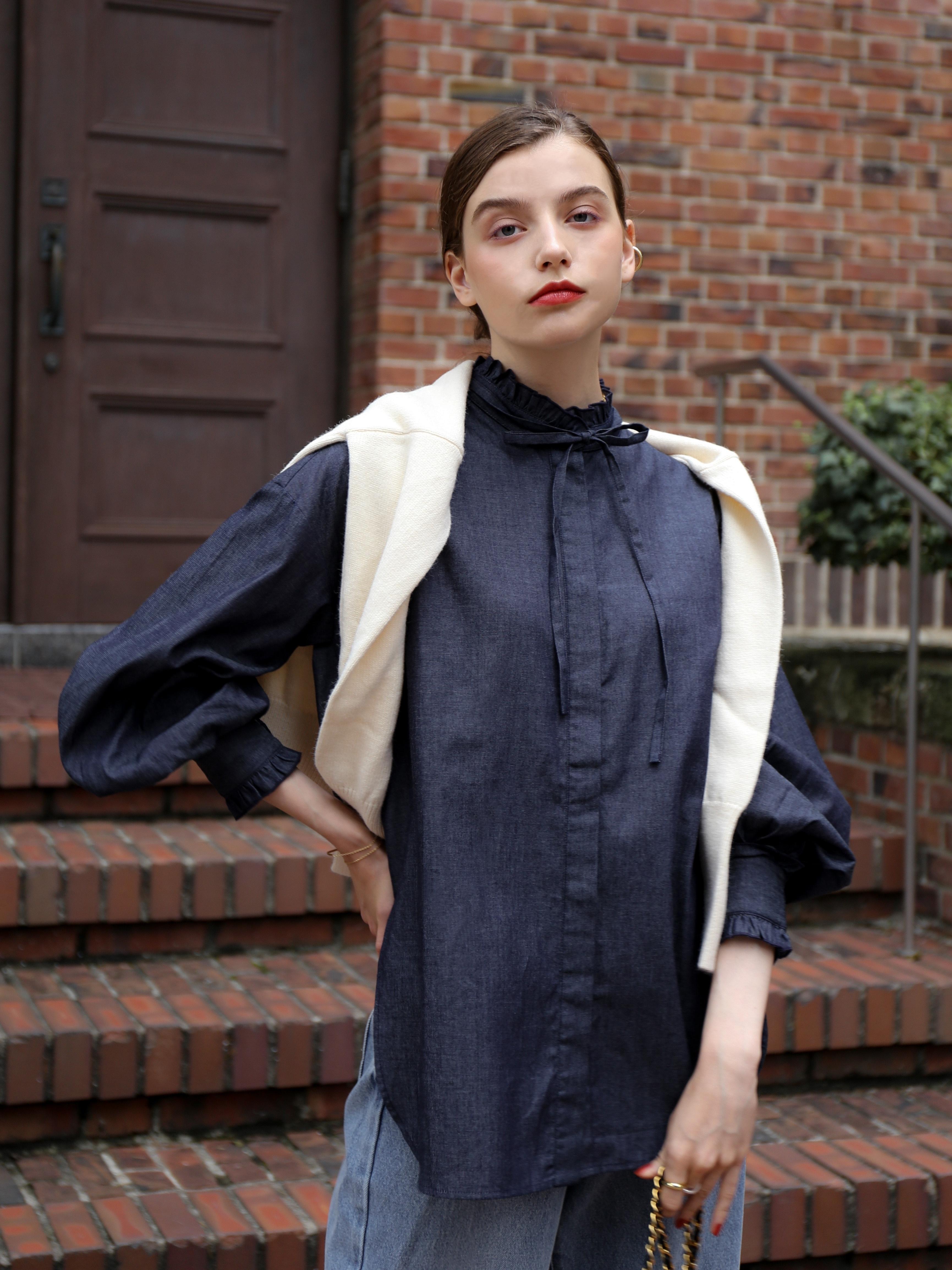 frill tunic shirt(denim)