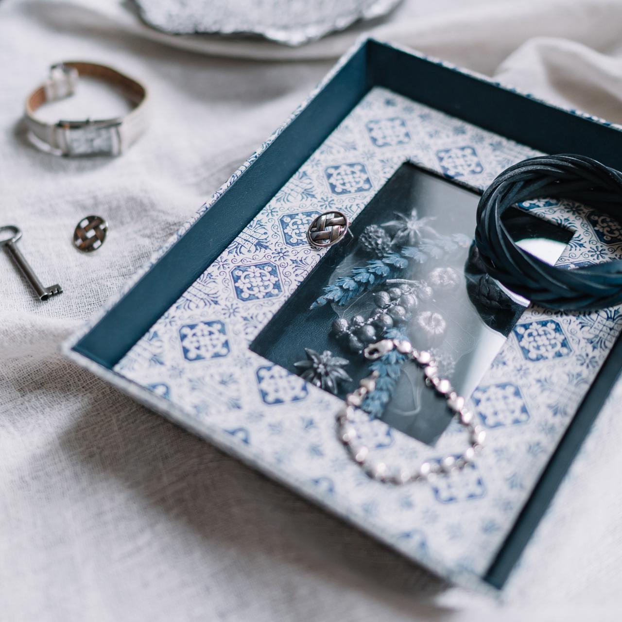 Juliette blue|イタリアンペーパーフラワートレー ブルー