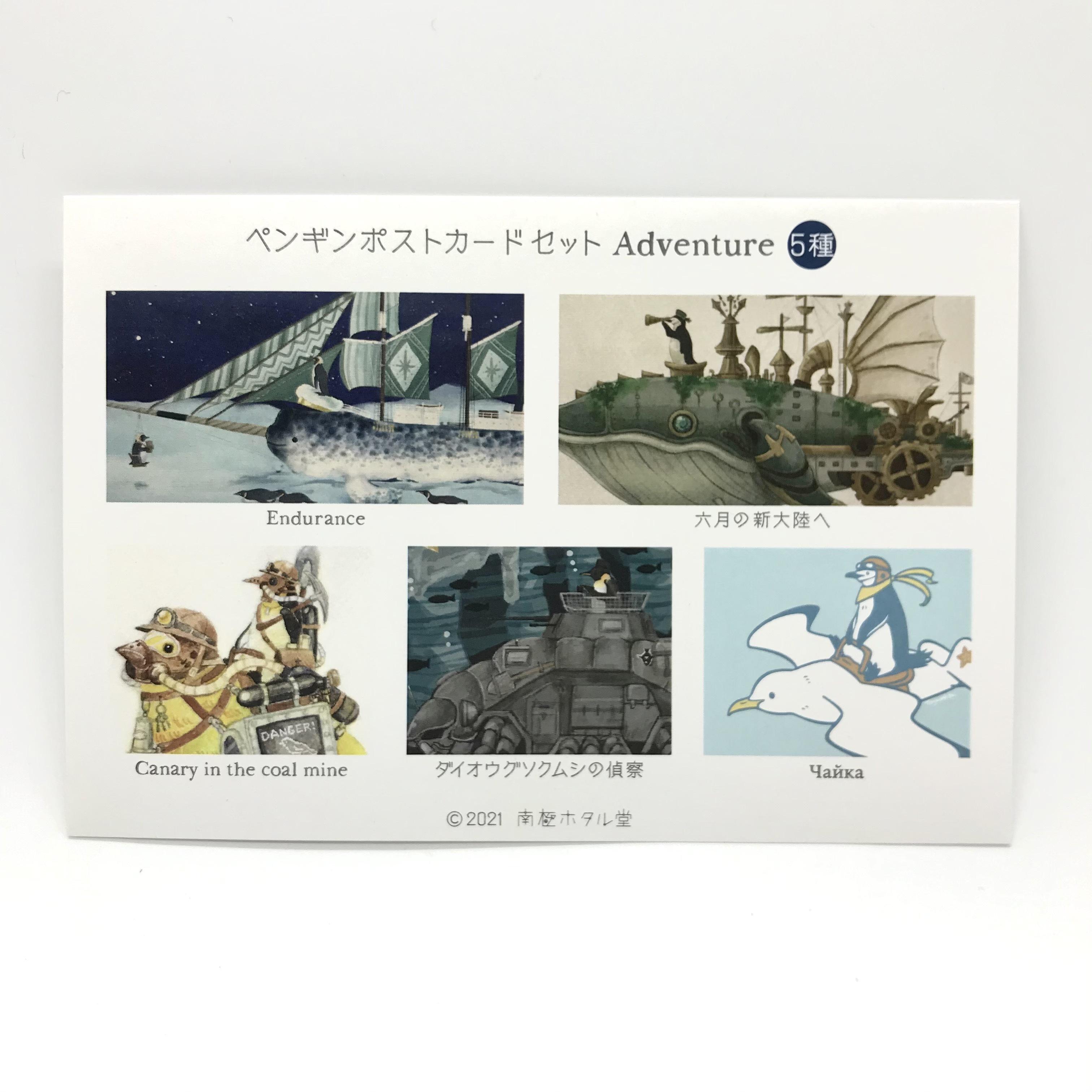 【南極ホタル堂】「ペンギンポストカード(Adventure)」5種セット