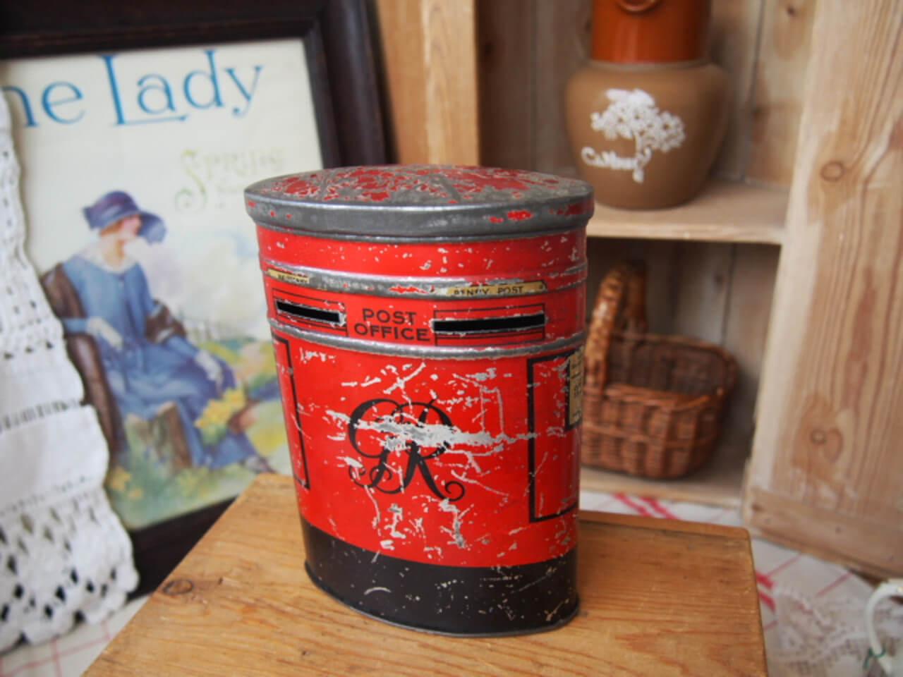 イギリスアンティーク ポスト型貯金箱
