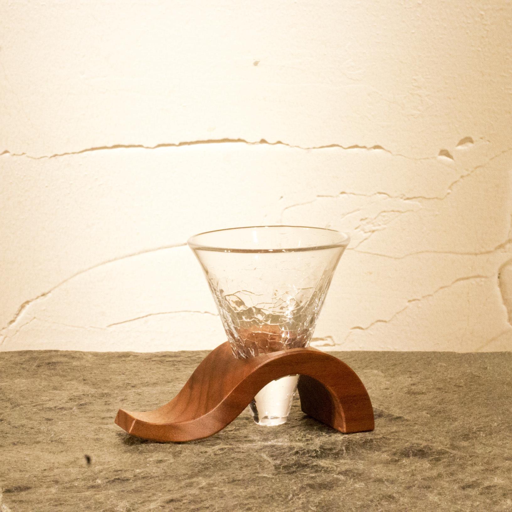 【淳工房】木Glass ナミ台 小 ヒビ  k-55