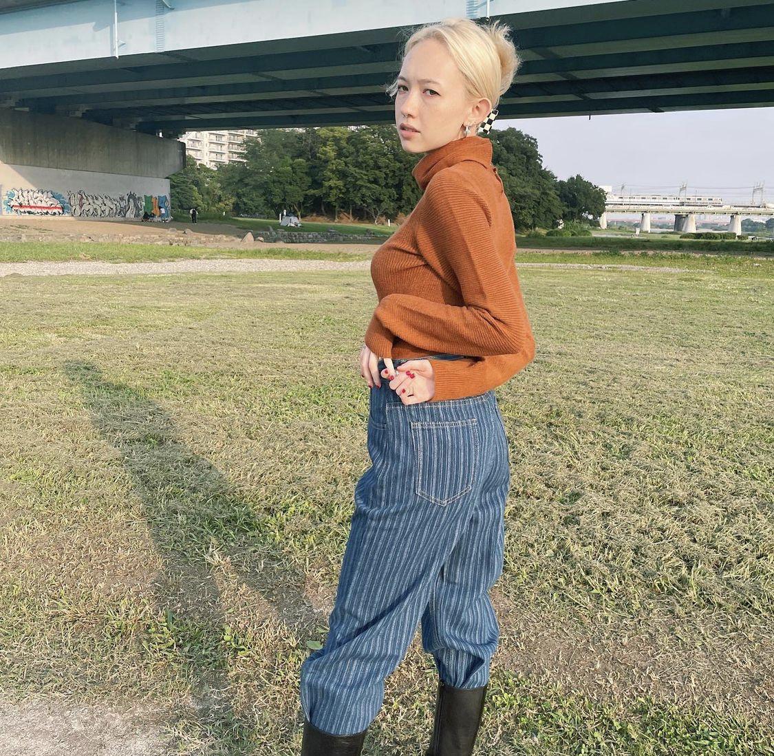 【ASHLEY】line denim pants(BLUE)