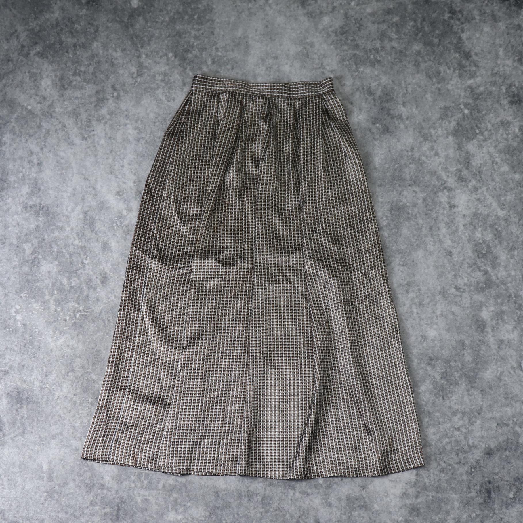 レディース 70〜80年代 USA製 幾何学模様 ロングスカート フレアスカート ヴィンテージ アメリカ古着 ポリエステル M