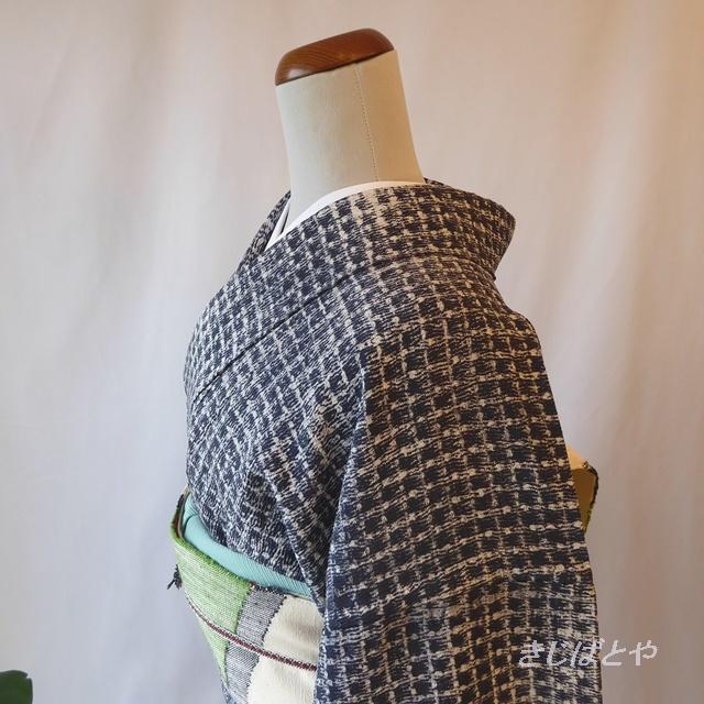 正絹 紺と白の格子の小紋 単衣