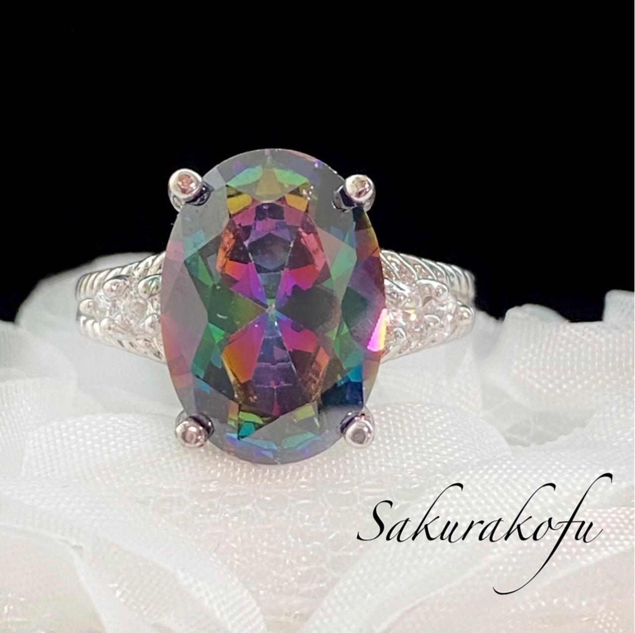 D077 レディース リング 指輪 ミスティックトパーズ キュービックジルコニア 大粒 ファッションリング