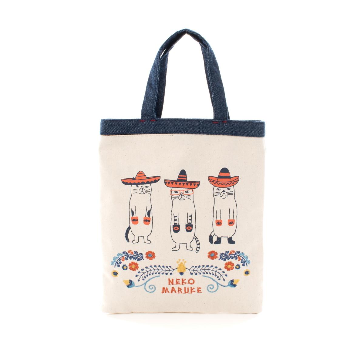 手さげバッグ 「ネコまるけメキシコ手さげバッグ キナリ」