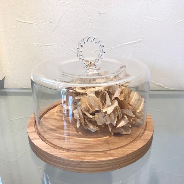 HARIO Lampwork Factory チーズドーム ネジリ M ホワイトオーク  ガラスドーム