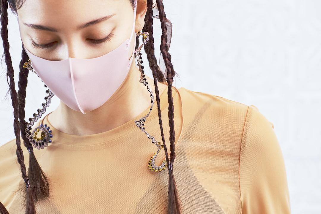 ARRO / Embroidery mask strap / WHORLS / GRAY