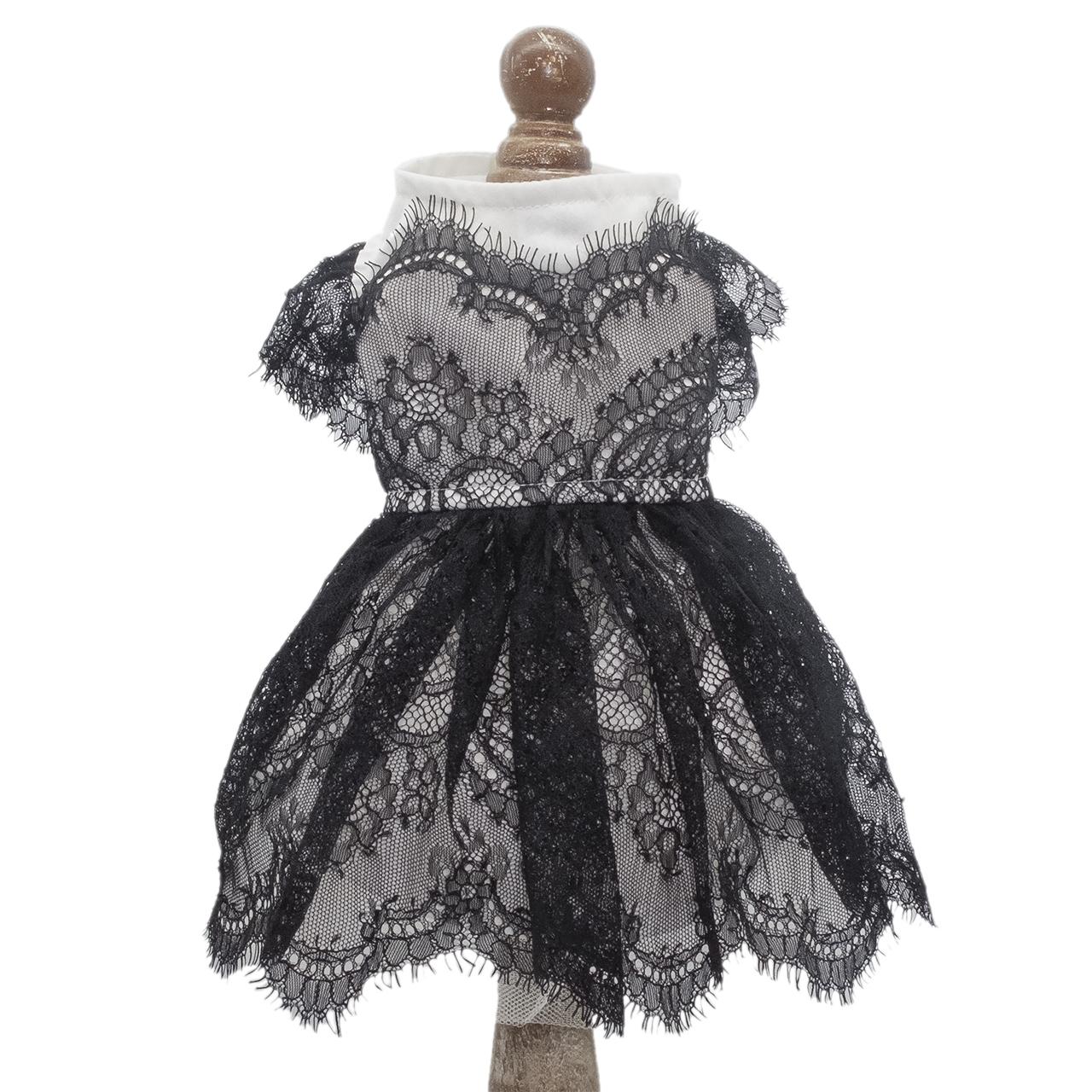 ELENT ブラックレーススカラップドレス