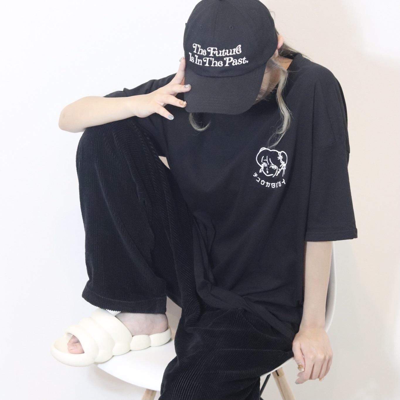 【unisex】チュウカタベタイ LOGO T-shirt 【black】