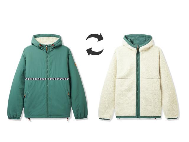 BUTTERGOODS Base Camp Reversible Sherpa Jacket (Green)
