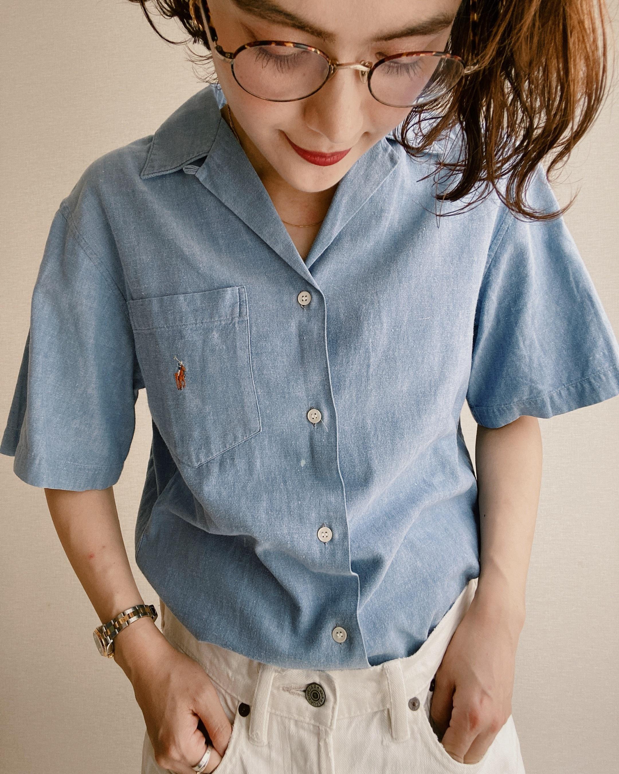 (SH192)90's Ralph Lauren Chambray open collar shirt