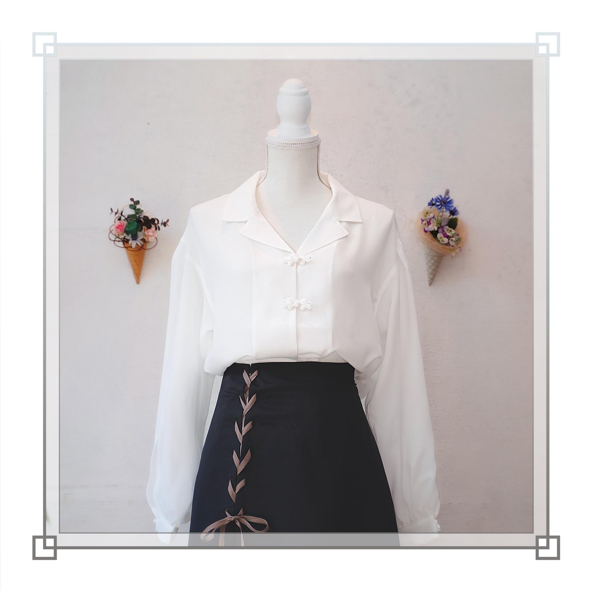 チャイナ開襟シャツ(ホワイト)