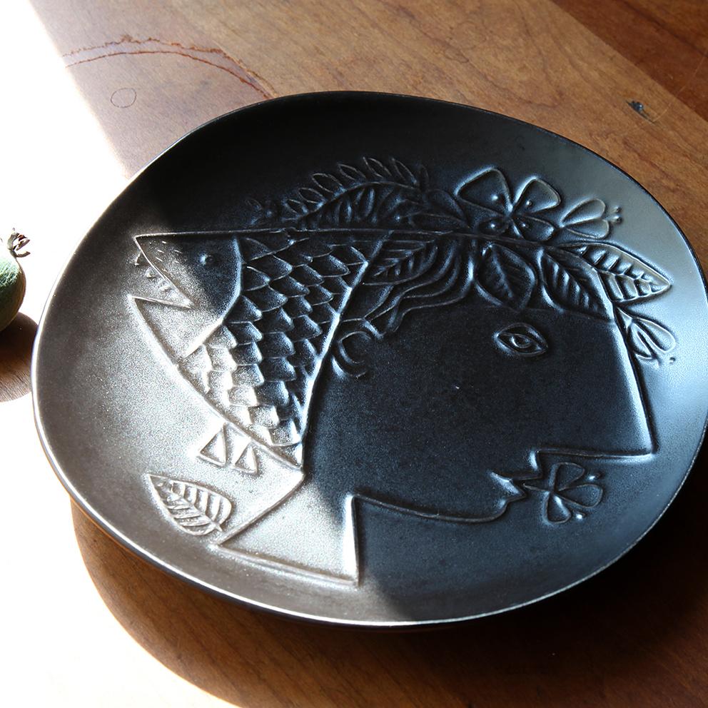 Gustavsberg グスタフスベリ Piazza ピアッツァ 皿(少女と魚) 北欧ヴィンテージ