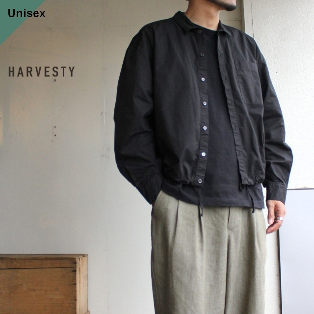 HARVESTY コットンツイルシャツブルゾン ブラック A31909