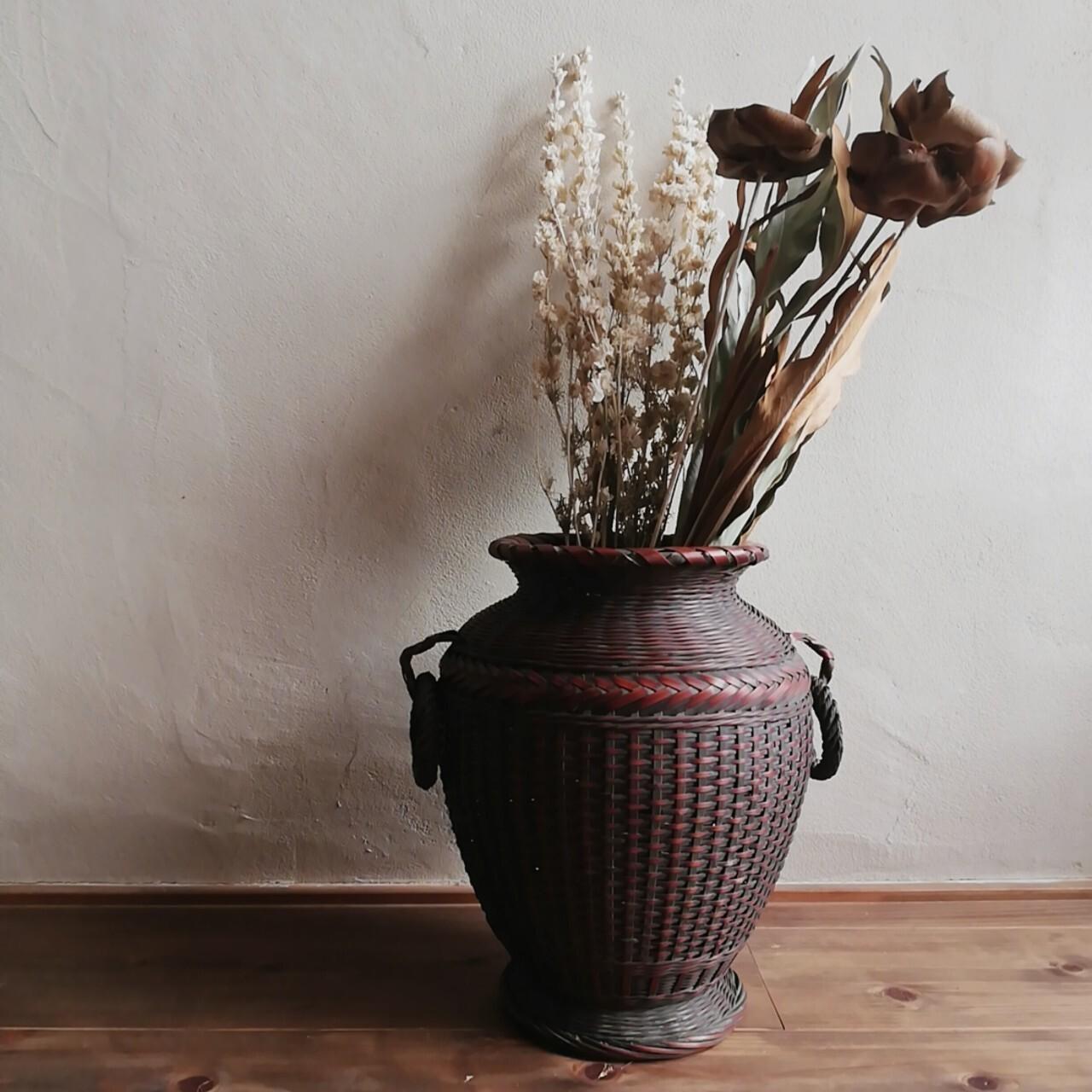 竹細工 古い壺型花籠